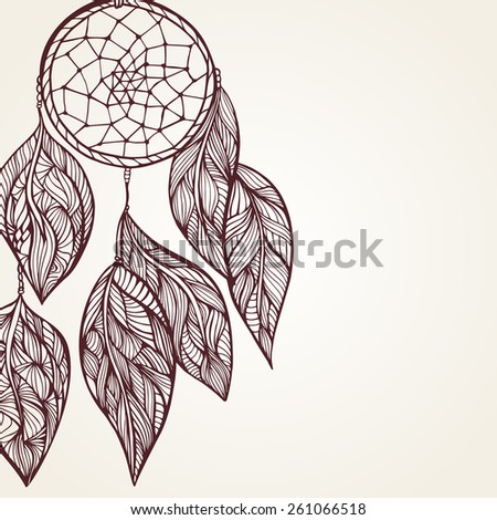 Vector illustration of dream Catcher. Doodle style - stock vector