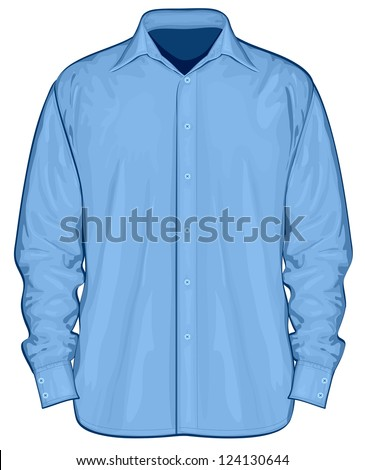 Vector illustration of dress shirt (button-down). Front view - stock vector