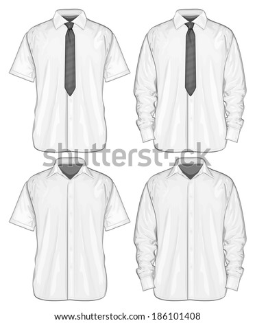 Vector illustration of dress shirts (button-down) with  and without neckties. Short and long sleeve. Front view - stock vector