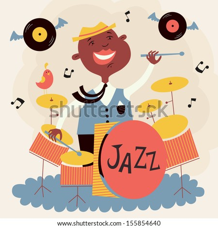 Vector illustration of drummer - stock vector