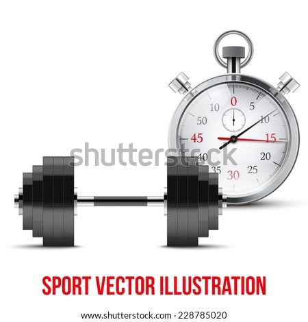 Vector Illustration of dumbbell and stopwatch. Background of training and timing. - stock vector