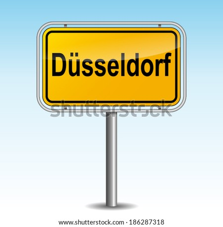 Vector illustration of dusseldorf signpost on sky background - stock vector