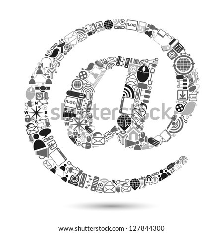 vector illustration of e-mail symbol made of web icon - stock vector