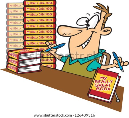 vector illustration eager author stacks books stock vector 126439316