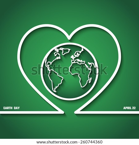 Vector Illustration of Earth Day in April for Design, Website, Background, Banner. Eco Concept Element Template with Map and Heart in Outline Style - stock vector
