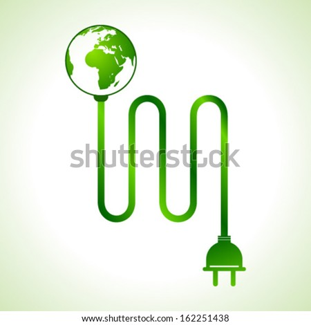Vector illustration of earth globe with power cable  - stock vector