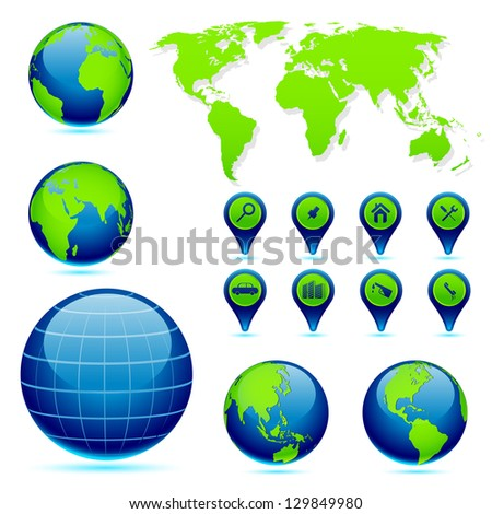 vector illustration of Earth in different perspective with World Map - stock vector