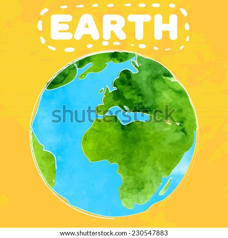 Vector illustration of earth with watercolor texture.