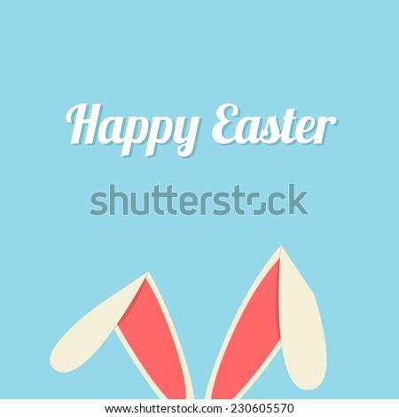 Vector illustration of Easter bunny ears card - stock vector