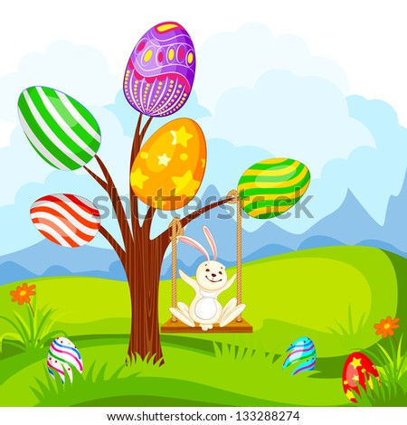 vector illustration of Easter bunny swinging on egg tree - stock vector