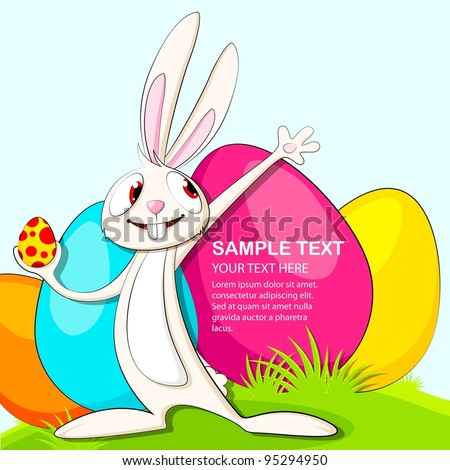 vector illustration of easter bunny with colorful egg - stock vector