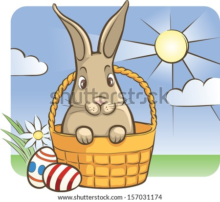 Vector illustration of easter bunny with eggs. Easy-edit layered vector EPS10 file scalable to any size without quality loss. High resolution raster JPG file is included. - stock vector