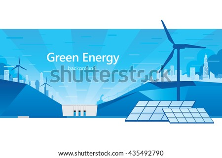 Vector illustration of eco energy with cityscape.