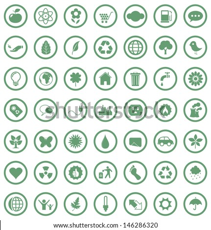 Vector illustration of eco icons. - stock vector