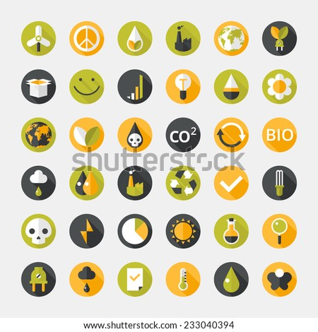 Vector illustration of eco icons - flat design - stock vector