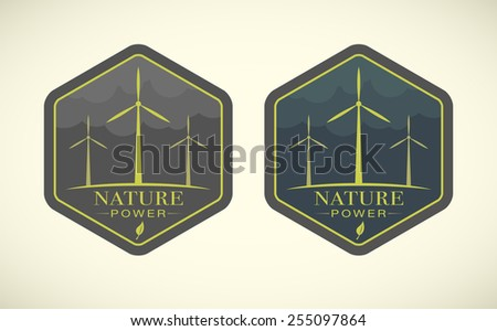 Vector illustration of eco icons with wind turbines  - stock vector