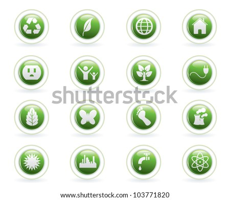Vector illustration of ecological circle button icons. - stock vector