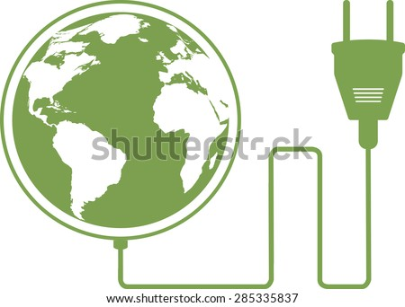Vector illustration of ecology concept with electric plug, and map of world of planet of Earth. Isolated on white background