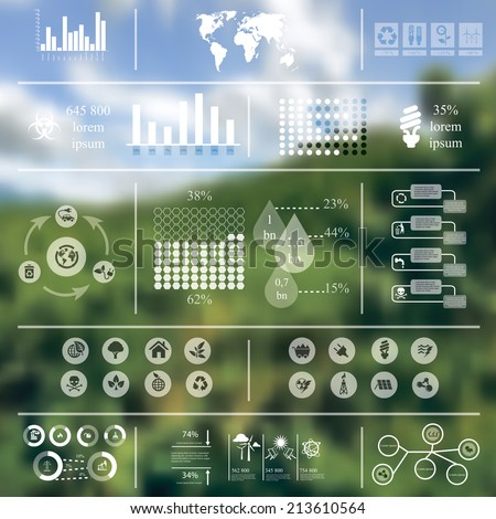 Vector illustration of ecology infographics in Minimalistic style concerning to ecology, pollution, energy and sustainable development themes - stock vector