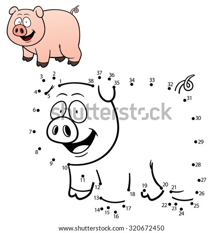 Vector Illustration of Education dot to dot game - Pig - stock vector