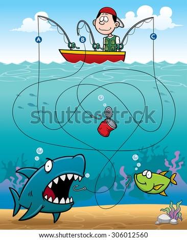 Vector Illustration of Education Fisherman Maze Game - stock vector