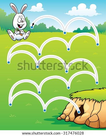 Vector Illustration of Education game Rabbit jump - Line dot - stock vector