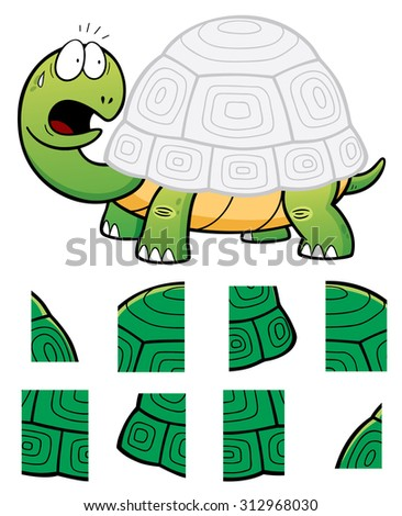 Vector Illustration of Education Jigsaw Puzzle Game for Children with Turtle - stock vector