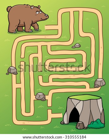 Vector Illustration of Education Maze Game bear to cave - stock vector