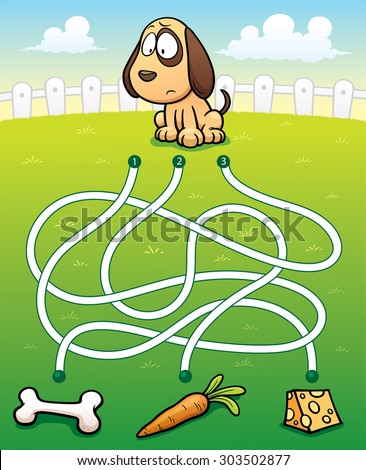 Vector Illustration of Education Maze Game Dog with food