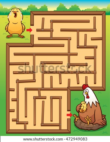 Vector Illustration of Education Maze Game Little Chick to Hen