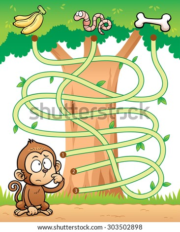 Vector Illustration of Education Maze Game Monkey with food - stock vector