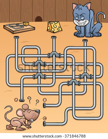 Vector Illustration of Education Maze Game Rat with food