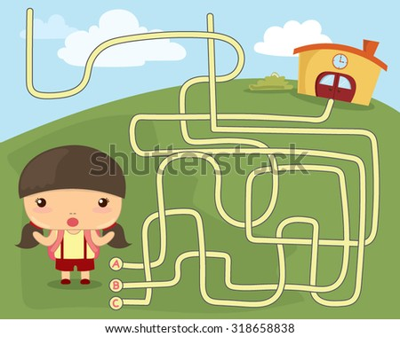Vector Illustration of Education Maze Game the girl go to school. - stock vector