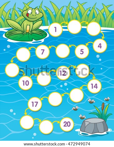 Vector Illustration of Education Numbers game Frog to food