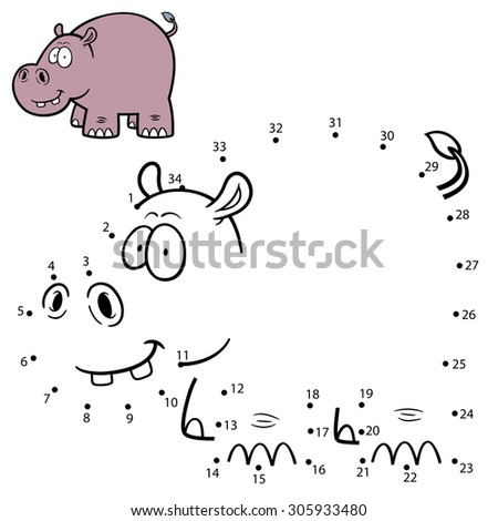 Vector Illustration of Education Numbers game Hippo - stock vector