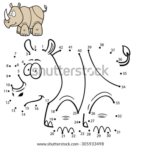 Vector Illustration of Education Numbers game Rhino - stock vector