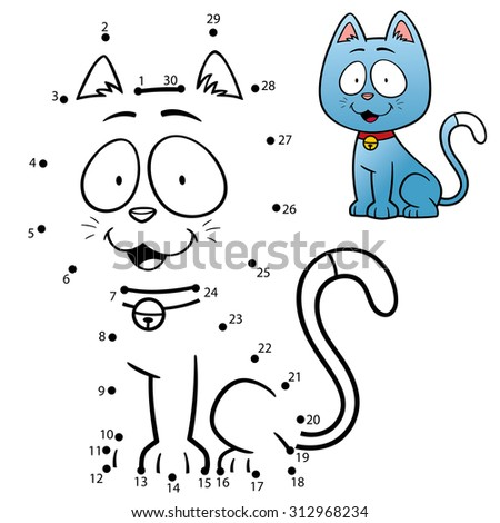 Vector Illustration of Education Numbers game the dot cat - stock vector