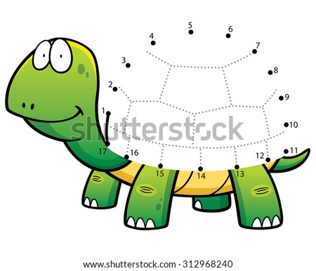 Vector Illustration of Education Numbers game the dot turtle - stock vector