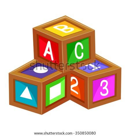 Vector Illustration of Educational Blocks Alphabet 123 - stock vector