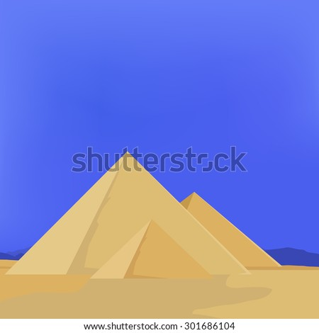 Vector illustration of Egypt pyramids with sky, sun, sand. Pyramids giza. The flames of sunset - stock vector