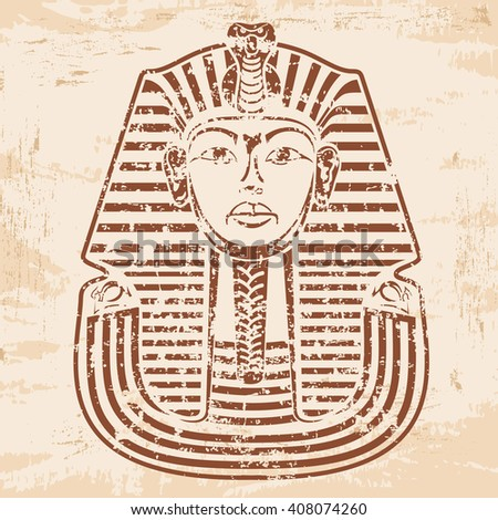 Vector illustration of Egyptian Pharaoh's mask on a beige background with the effect of aging.