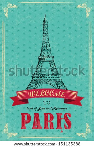vector illustration of Eiffel Tower for retro travel poster - stock vector
