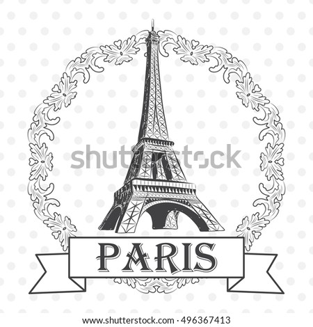 vector illustration of eiffel tower in round frame with label paris eps - Eiffel Tower Picture Frame