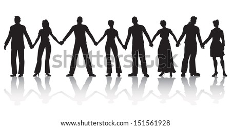 Vector illustration of eight people standing in a row holding hands. - stock vector