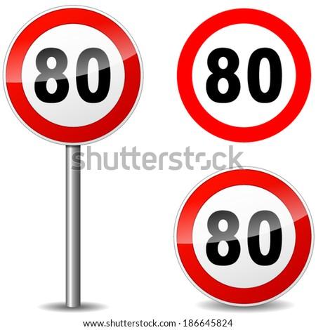 Vector illustration of eighty regulation sign on white background - stock vector