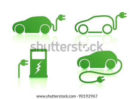 Vector illustration of electric powered car and charging point icons - stock vector