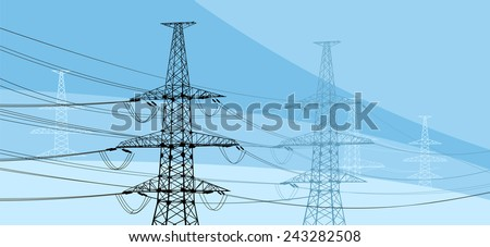 Vector illustration of electricity pylons on blue background - stock vector