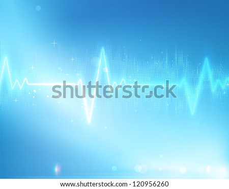 Vector illustration of electrocardiogram line on blue soft background - stock vector