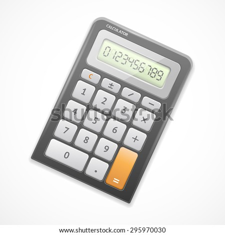 Vector illustration of electronic black calculator isolated on a white background.