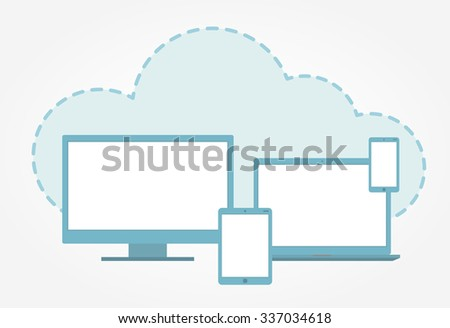 Vector illustration of electronic devices and cloud icon